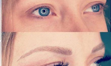 Cliente de Villefranche. Combo extension de cils volume russe, et maquillage permanent sourcils «poil à poil». Résultat impressionnant, changement d'expression, regard transformé.