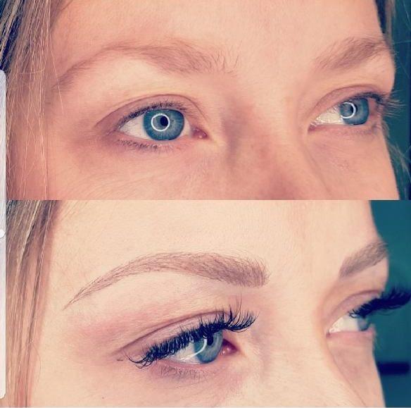 """Cliente de Villefranche. Combo extension de cils volume russe, et maquillage permanent sourcils """"poil à poil"""". Résultat impressionnant, changement d'expression, regard transformé."""
