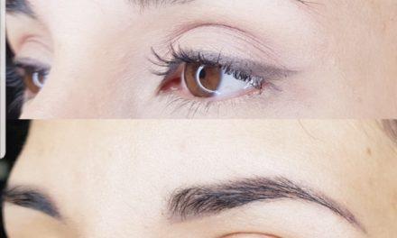 Cliente de Villefranche. Maquillage permanent sourcils poudrés cicatrisés.