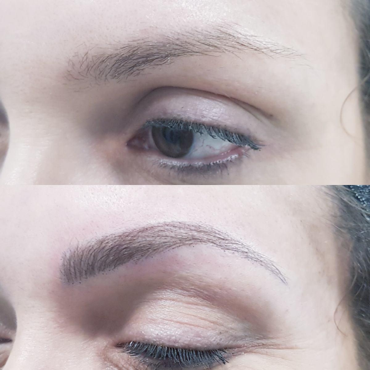 Maquillage permanent sourcils poil à poil. Création d'une ligne harmonieuse et naturelle. Dardilly
