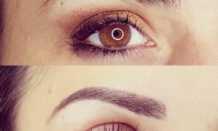 Maquillage permanent sourcils poudrés cicatrisés. Cliente de Trevoux.