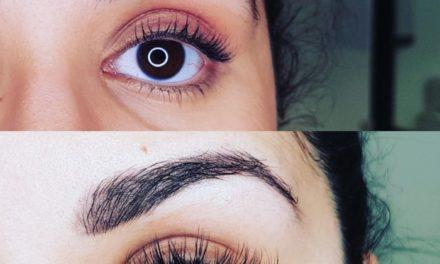 Combo extension de cils pose mixte, et maquillage permanent sourcils poudrés cicatrisés. Regard transformé. Cliente de Frans.